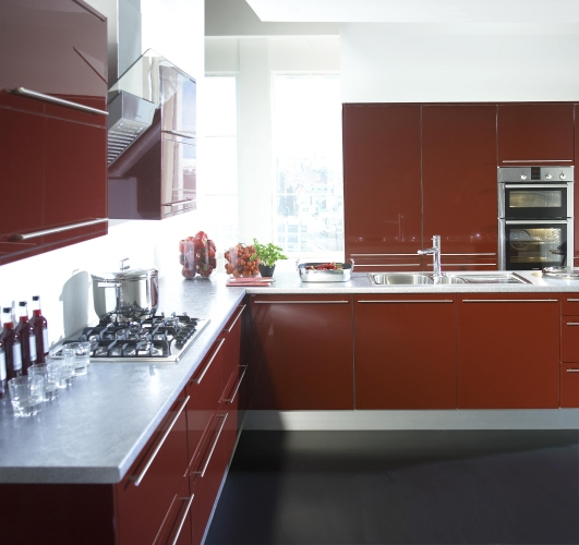 Charming Casual Simplicity U2013 Rich Gloss Burgundy. Make The Most Of Your Kitchen  Space. Shown With White Cabinets And Stainless Steel Plinths To Create The  Definitive ...